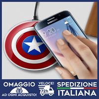 Caricatore wireless Capitan America con cavo incluso per android e iphone 🇮🇹