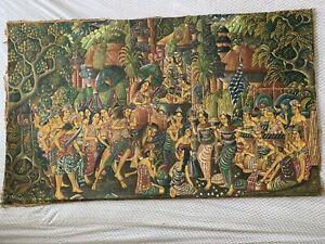 Vintage UBUD Indonesia Balinese Painting by Bali Artist Original Signed Ethinic