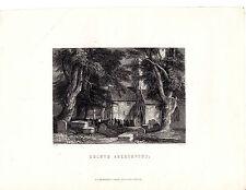 "Antiguo galés Impresiones - ""eglwys aberhonddu"" - Radclyffe acero grabado (1872)"