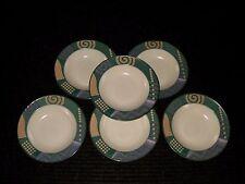 "UNUSED Set Lot 6 Mikasa Intaglio LIFE STYLE 9 3/8"" Rimmed Pasta Soup Bowls CAC18"