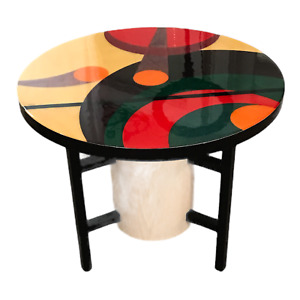 """Benjamin Le  AXI Furniture Inlaid/dyed Mid-Century Modern Art End Table 24"""" T"""