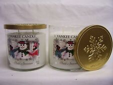 Yankee Candle (2) BUILD A SNOWMAN Two Wick 11 oz Tumbler Jar Candle MINTY FRESH