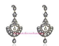 Diamond Silver Polki Hand-Made Earrings Jewelry Xmas Party Wear 3.86ct Rose Cut