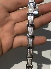 Solid 925 Silver W. 8ct Diamonds Icy  Hip Hop Men's Bracelet Thick Custom 12mm