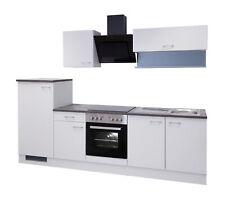 Küchenzeile mit Elektrogeräten Einbauküche Küchenblock E-Geräte 270 cm weiss