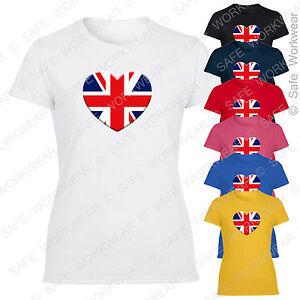 Ladies Union Jack Heart T Shirt - England UK Flag - Girls Fit Fashionable Top