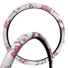 Flower /Flowery Pink Car Steering Wheel Cover / Glove Universal 37-39cm