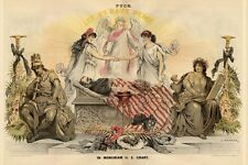 ULYSSES GRANT LYING IN STATE ANGEL NORTH AND SOUTH FEMALE FIGURES HOLD HANDS