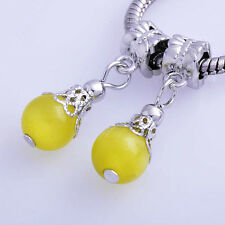 2PCS Yellow crystal spacer Beads free shipping For European Charm Bracelet