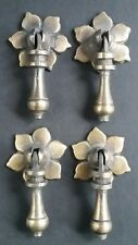 "4 Antique Tear Drop Pendant Brass Handle Pulls w.4 Bolts Floral Back  2 1/2"" #H4"