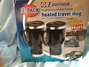 Emerson Stainless Steel 2-Pack Heated Travel Mug Set w/ Adapters **NEW**A368 jv