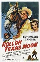 OLD LARGE ROY ROGERS COWBOY MOVIE POSTER, Roll On Texas Moon 1946