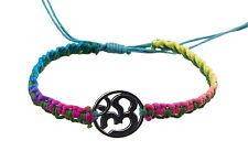 Bracelet bresilien ethnique multicolore Om hindu fil bleu ciel Ø 19mm - 25648