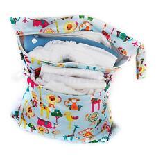Reusbale Double Zipper Baby Cloth Diaper Wet Dry Bag Swimer Tote Zoo Animals