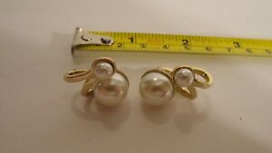 CLASSY NIGHT OUT COCKTAIL CHRISTIAN DIOR CD GOLD BIG SMALL DOUBLE PEARL EARRINGS