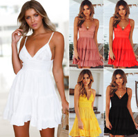 Womens V-Neck Spaghetti Strap Bowknot Backless Sleeveless  Swing Skater Dress