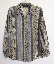 Impressions Animal Print Sheer Tunic Blouse Shirt Sz XL