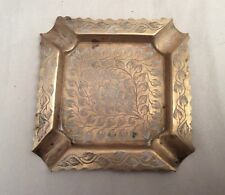 Vintage Hand Carved Leafs Design Solid Brass Ashtray Made in India Small