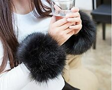 SwirlColor Soft and Fluffy Faux Fur Wrist Band Ring Cuffs Warmer For Women - ...