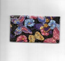 BUTTERFLY CHECKBOOK COVER FABRIC BLACK AND COLORFUL BUTTERFLYS NEW ITEM FLOWERS
