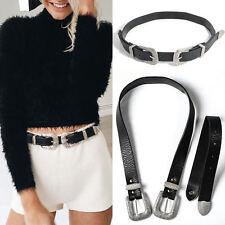 Fashion Women Metal Boho Black Leather Double Buckle Waist Belt Waistband Gift