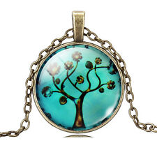Bronze Tree of Life Glass Cabochon Pendant Necklace, Sacred Tree, TL51