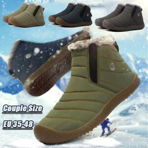 Couple Mens Womens High Top Slip On Snow Boots Casual Waterproof Soft Warm Shoes