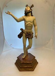 ANTIQUE WOODEN POLYCHROME JESUS SANTOS/BULTO SPANISH COLONIAL SAINT STATUE