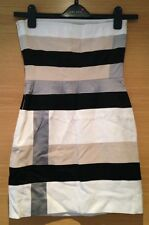 Size Xs 6 8 Bodycon Bandeau Dress White Beige Black Panel Silver Grey Mini