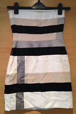 Size Xs 6 8 Bodycon Bandeau Dress White Beige Black Panel Silver Grey Mini
