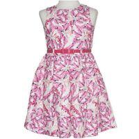 GIRLS size 9 lined Pink print flower Party DRESS pink belt NEW Formal graduation
