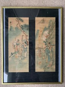 Vintage Antique Chinese Paintings On Silky and Painted With Seal Marks Framed