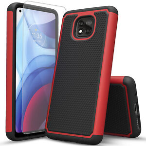 For Motorola Moto G Power Play 2021 Case, Armor Cover + Tempered Glass Protector