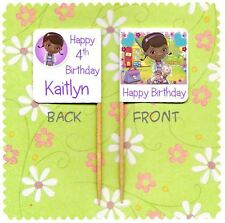 20 PERSONALISED DOC MCSTUFFINS CUP CAKE FLAG Birthday Party Pick Topper Food