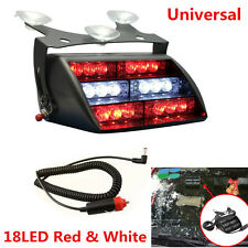 12V 18LED Red & White Car Truck Van Dash Windshield Emergency Strobe Flash Light