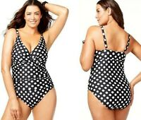 Ralph Lauren Polka Dot V-Neck Ruched Control One Piece Plus 20W Swimsuit NWT$111