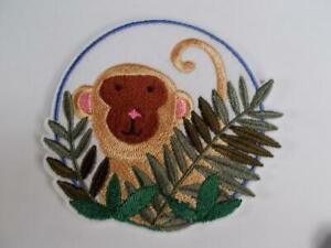 "Machine Embroidered Applique Peek a Boo Monkey Size 3.87"" x 3.87"""