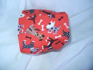 """Dog Puppy Belly Band Wrap Contour Diaper Male Puppy Flannel lined 17.5"""" RED DOGS"""
