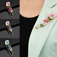 Fashion Crystal Flower Plant Piercing Brooch Pin Breastpin Party Women Jewelry