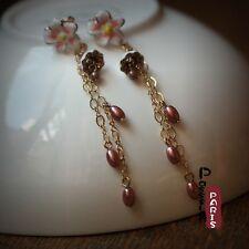 Boucles d`Oreilles Clous Long Fin Fleur Email Blanc Perles Rose Retro Cadeau L2