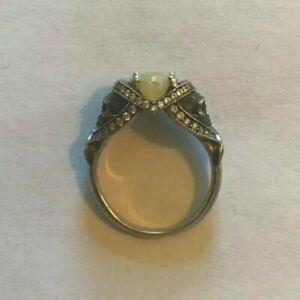 Sapphire Studios Design St. Noir Skull Bridal Set - Sterling Silver, Opal 4.5 US
