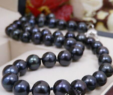 Real Huge 11-12MM Natural Black Freshwater Cultured Pearl Necklace 18'' JN1799