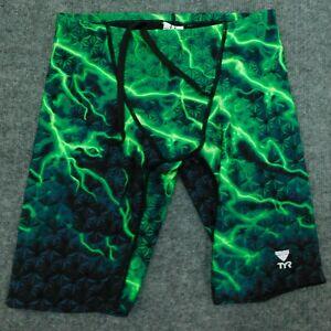 "TYR 10"" TRI Shorts Triathlon Swimming Jammers Trunks Run Green Lightning sz 30"