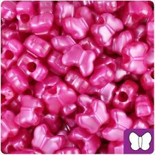 *3 FOR 2* 50 Hot Pink Pearl Butterfly Shape 13mm Highest Quality Pony Beads