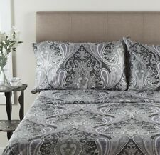Grey Paisley Sheet Set Full Size 100 % Cotton Deep Pocket 4 Piece 300 TC