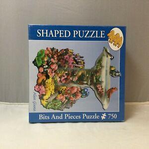 """BITS AND PIECES shaped puzzle Birdbath Garden birds 750 pieces 20"""" X 27"""" New"""