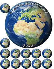 "GLOBE WORLD MAP TRAVEL 7.5"" + 12 x 1.5"" PREMIUM Edible ICING Cake Topper D2"