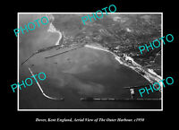 OLD POSTCARD SIZE PHOTO DOVER KENT ENGLAND AERIAL VIEW OUTER HARBOUR c1950
