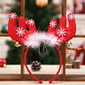 CO_ KQ_ AU_ Christmas Feather Antler Bell Headband Kid Adult Hair Band Hoop Deco