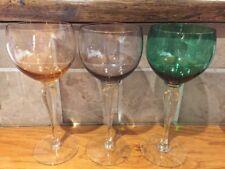 Set of 3 x Beautiful Vintage Coloured Glass Wine Glasses